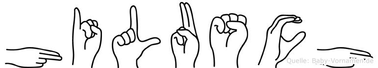 Hilusch im Fingeralphabet der Deutschen Gebärdensprache