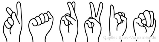 Karvin im Fingeralphabet der Deutschen Gebärdensprache
