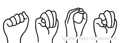 Amon im Fingeralphabet der Deutschen Gebärdensprache