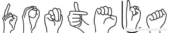 Donteja im Fingeralphabet der Deutschen Gebärdensprache