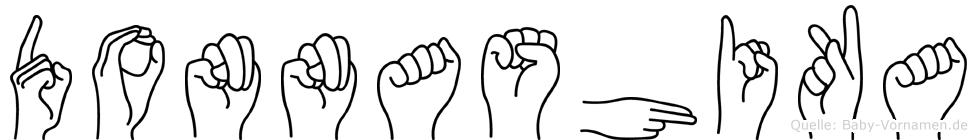 Donnashika im Fingeralphabet der Deutschen Gebärdensprache
