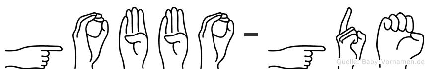 Gobbo-Göde im Fingeralphabet der Deutschen Gebärdensprache