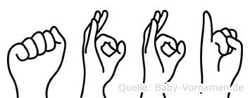 Affi in Fingersprache für Gehörlose