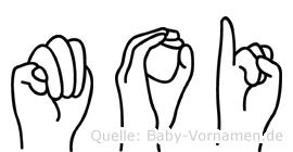 Moi in Fingersprache für Gehörlose