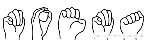 Moema im Fingeralphabet der Deutschen Gebärdensprache