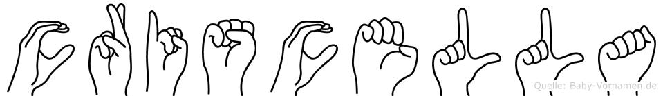 Criscella im Fingeralphabet der Deutschen Gebärdensprache
