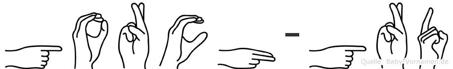 Gorch-Görd im Fingeralphabet der Deutschen Gebärdensprache