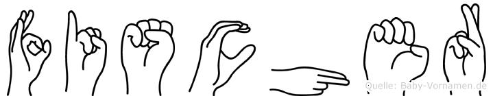 Fischer im Fingeralphabet der Deutschen Gebärdensprache