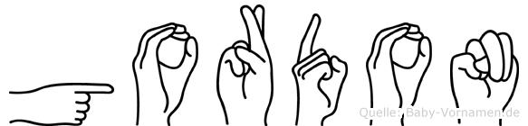 Gordon im Fingeralphabet der Deutschen Gebärdensprache