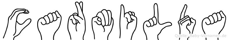 Carmilda im Fingeralphabet der Deutschen Gebärdensprache