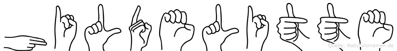 Hildelitte im Fingeralphabet der Deutschen Gebärdensprache