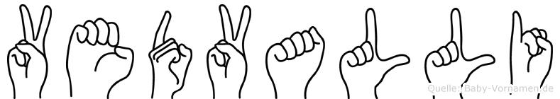 Vedvalli im Fingeralphabet der Deutschen Gebärdensprache