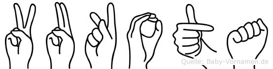 Vukota im Fingeralphabet der Deutschen Gebärdensprache