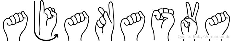 Ajakasva im Fingeralphabet der Deutschen Gebärdensprache