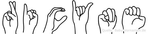 Ricyne im Fingeralphabet der Deutschen Gebärdensprache