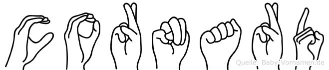 Cornard im Fingeralphabet der Deutschen Gebärdensprache