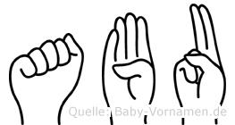 Abu im Fingeralphabet der Deutschen Gebärdensprache