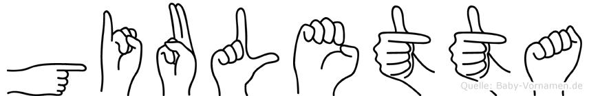 Giuletta im Fingeralphabet der Deutschen Gebärdensprache