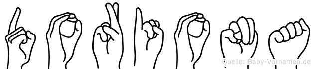 Doriona im Fingeralphabet der Deutschen Gebärdensprache