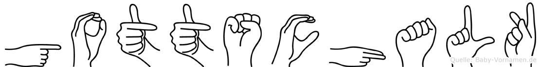 Gottschalk im Fingeralphabet der Deutschen Gebärdensprache