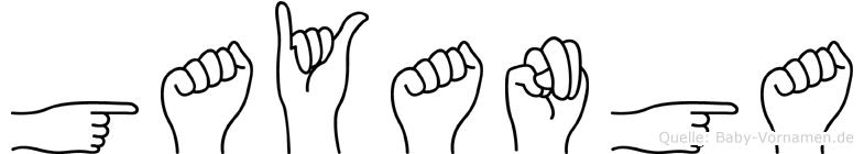 Gayanga im Fingeralphabet der Deutschen Gebärdensprache