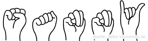 Sanny im Fingeralphabet der Deutschen Gebärdensprache