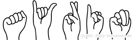 Ayrin im Fingeralphabet der Deutschen Gebärdensprache