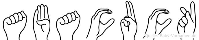 Abacuck im Fingeralphabet der Deutschen Gebärdensprache