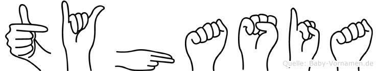 Tyhasia im Fingeralphabet der Deutschen Gebärdensprache