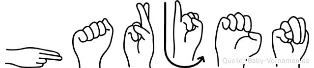 Harjen im Fingeralphabet der Deutschen Gebärdensprache