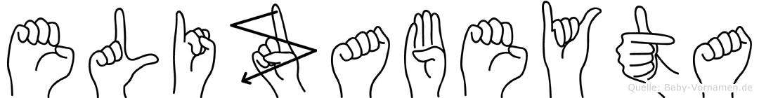 Elizabeyta im Fingeralphabet der Deutschen Gebärdensprache