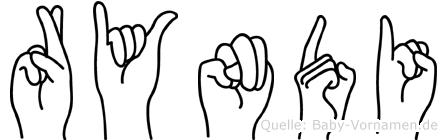 Ryndi im Fingeralphabet der Deutschen Gebärdensprache