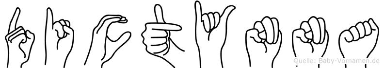 Dictynna im Fingeralphabet der Deutschen Gebärdensprache