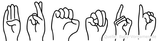 Brendi im Fingeralphabet der Deutschen Gebärdensprache