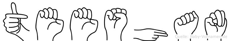 Teeshan im Fingeralphabet der Deutschen Gebärdensprache