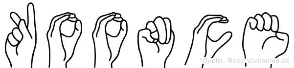 Koonce im Fingeralphabet der Deutschen Gebärdensprache