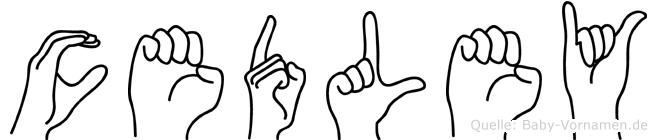 Cedley im Fingeralphabet der Deutschen Gebärdensprache
