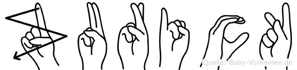Zurick in Fingersprache für Gehörlose