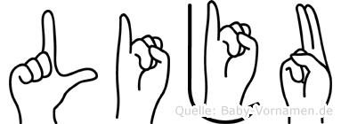 Liju im Fingeralphabet der Deutschen Gebärdensprache