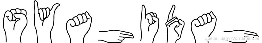 Syahidah im Fingeralphabet der Deutschen Gebärdensprache