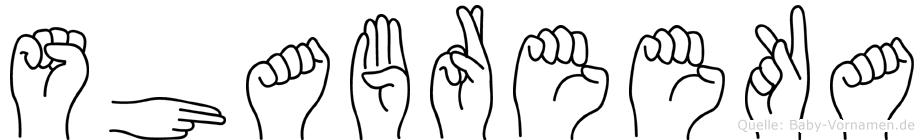 Shabreeka in Fingersprache für Gehörlose