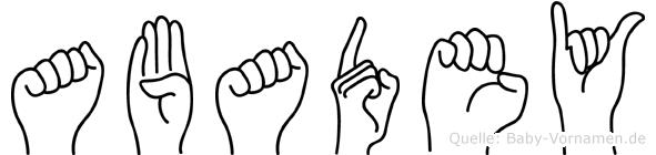 Abadey in Fingersprache für Gehörlose