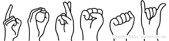 Dorsay im Fingeralphabet der Deutschen Gebärdensprache