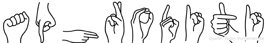 Aphroditi im Fingeralphabet der Deutschen Gebärdensprache