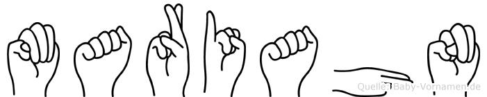 Mariahn im Fingeralphabet der Deutschen Gebärdensprache