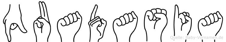 Quadasia im Fingeralphabet der Deutschen Gebärdensprache