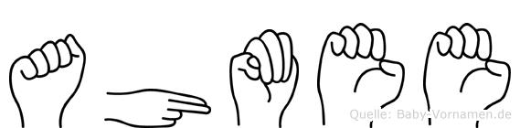 Ahmee im Fingeralphabet der Deutschen Gebärdensprache