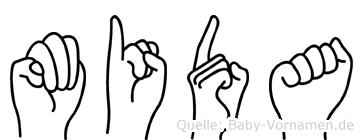 Mida im Fingeralphabet der Deutschen Gebärdensprache