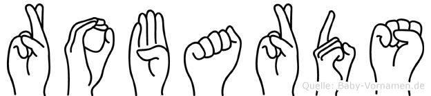 Robards im Fingeralphabet der Deutschen Gebärdensprache