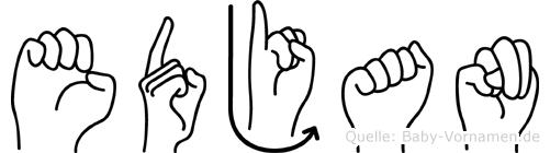 Edjan im Fingeralphabet der Deutschen Gebärdensprache
